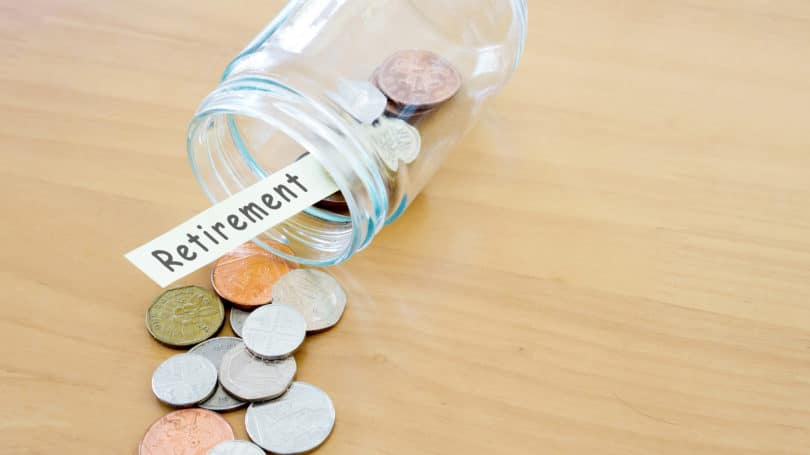 Retirement Savings Jar Spilled Over Empty