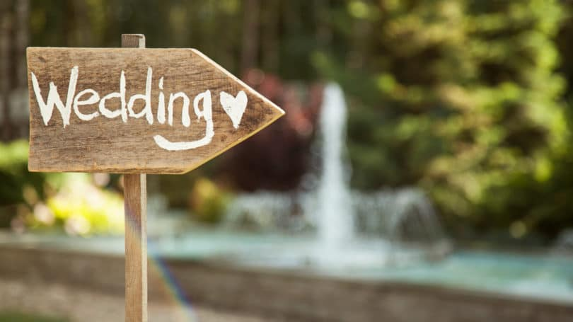 Wedding Wooden Sign Diy Outdoors Ceremony
