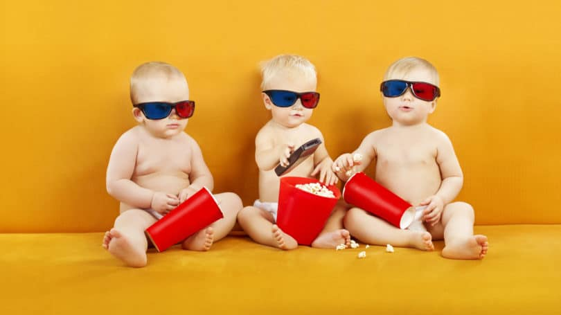 Babies Watching Movie 3d Glasses Popcorn