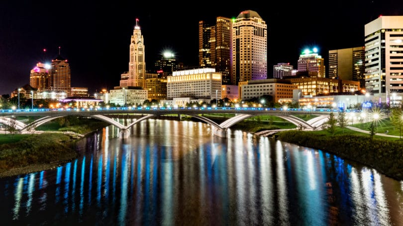 Columbus Ohio Main Street Bridge Night Cityscape