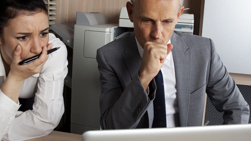 Emotional Investing Adults Worried Anxiety Laptop Office