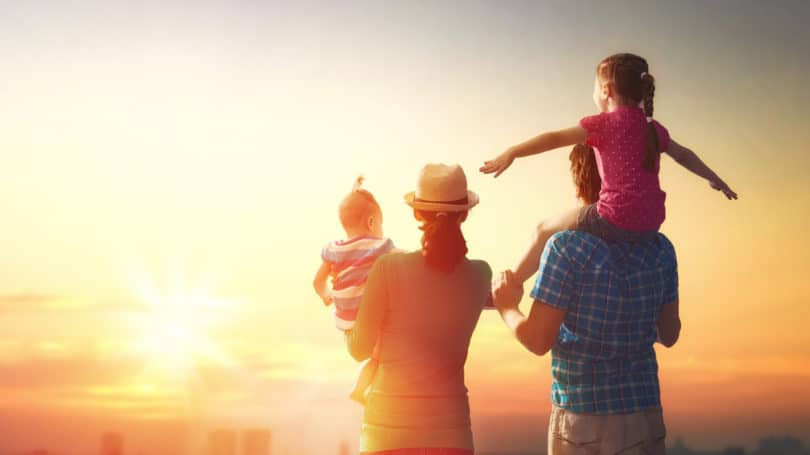 Family Traveling Together Experience Sunset View Children