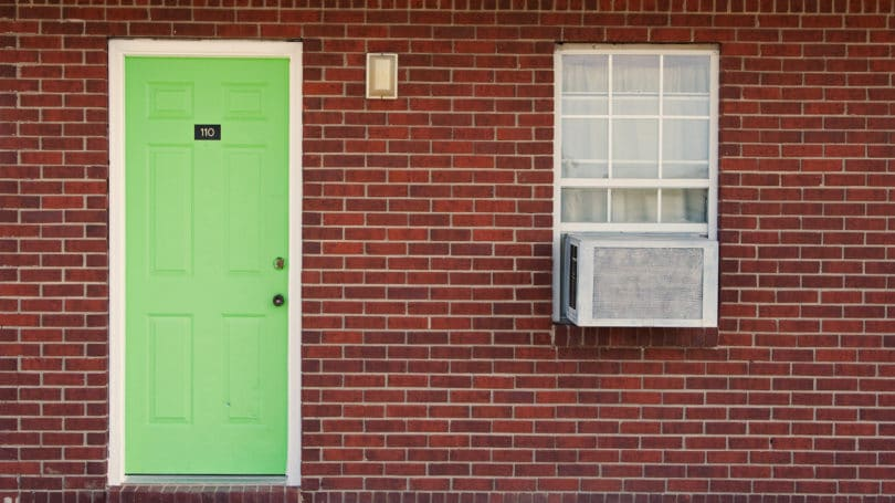 Green Door Air Conditioner Window Unit Brick House