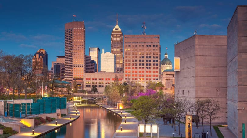 Indianapolis Indiana Cityscape Twilight Blue Hour