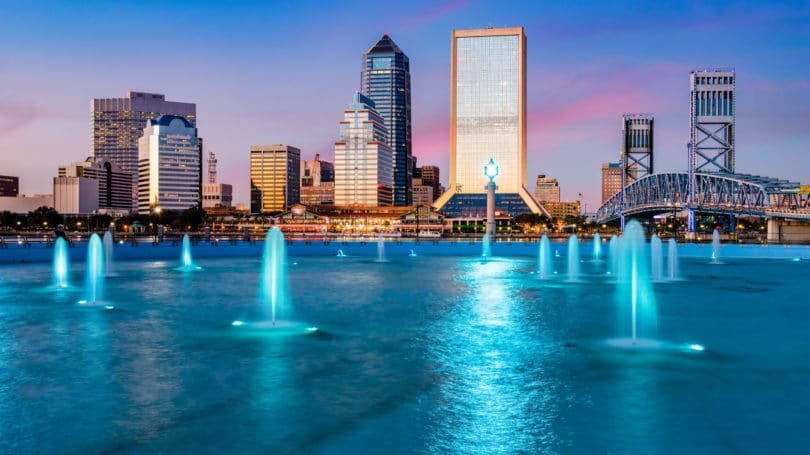 Jacksonville Florida Cityscape Water Fountain