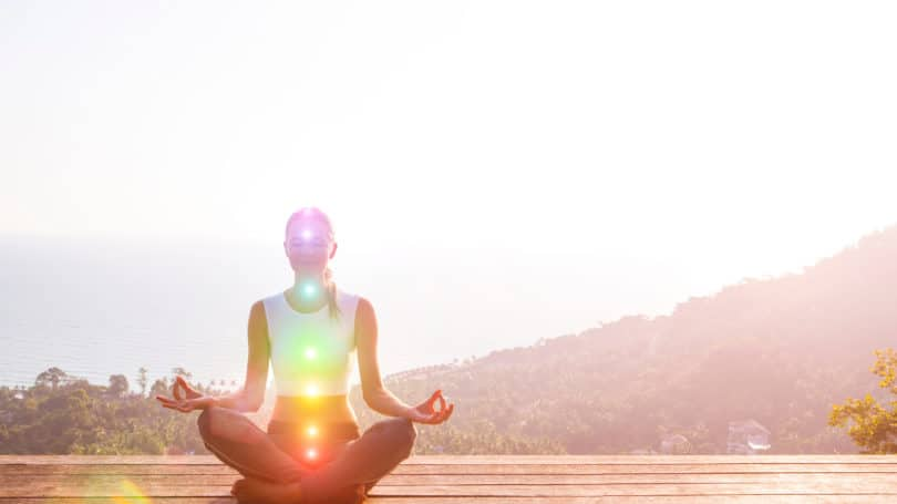 Meditate Outdoors Woman Mountains