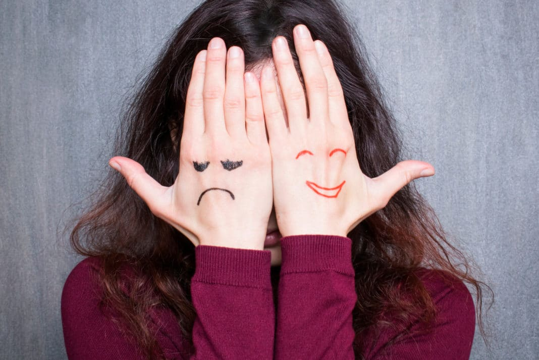 Mood Happy Sad Woman Hands Covering Face