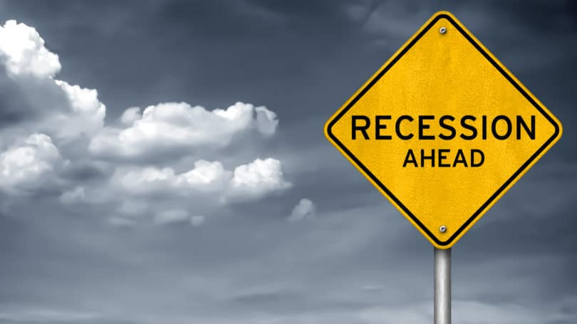 Recession Ahead Sign Clouds