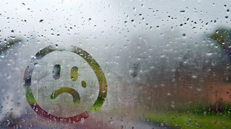 Sad Face Rain Window