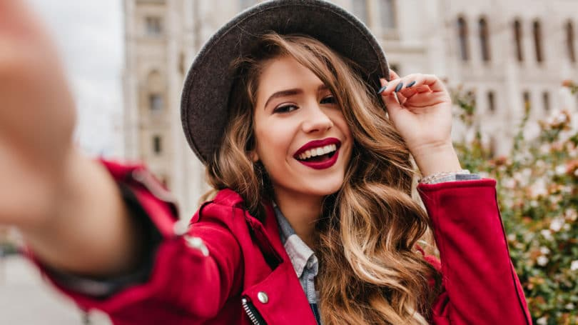 Woman Blogger Smiling Selfie Outdoors Happy