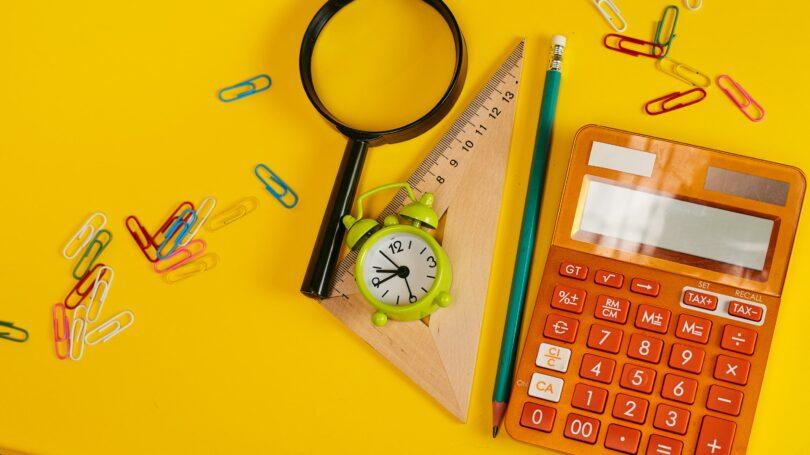 Calculator Clock Magnifying Glass Desk Paper Clip