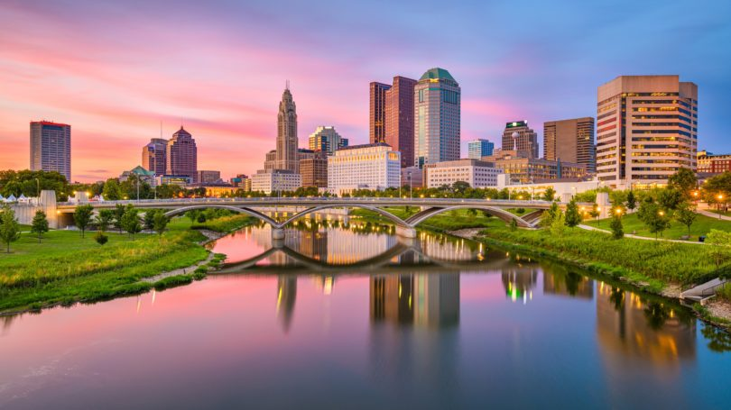 Columbus Ohio Skyline On River