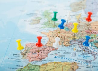 Europe Map Pins Planning Travel