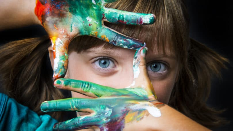 Girl Hand Painting Creative Outlet Imagination Art