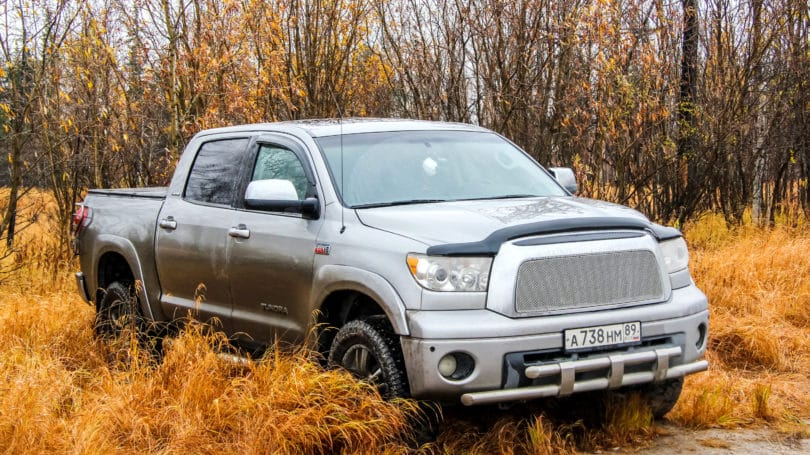 Toyota Tundra Silver Pick Up Truck Autumn Outdoors