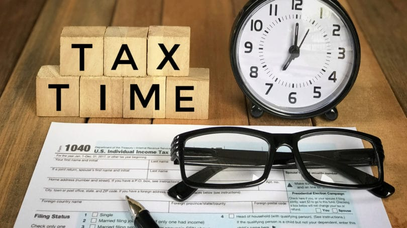 Tax Time Tax Forms Glasses Clock Letter Blocks