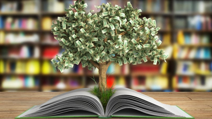 Book On Investing Tree Growing Cash Concept