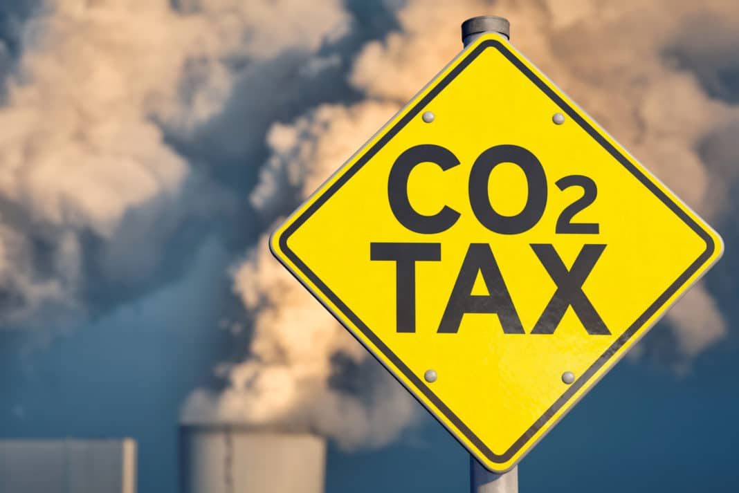 Carbon Tax Co2 Traffic Sign Power Plant