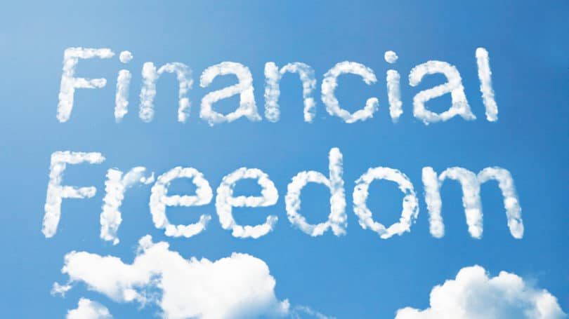 Financial Freedom Words In The Sky Clouds