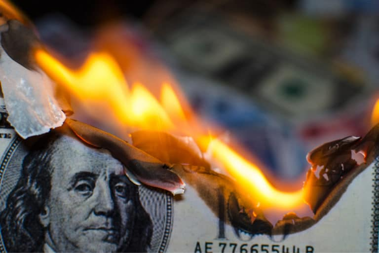 Money Fire 100 Bill