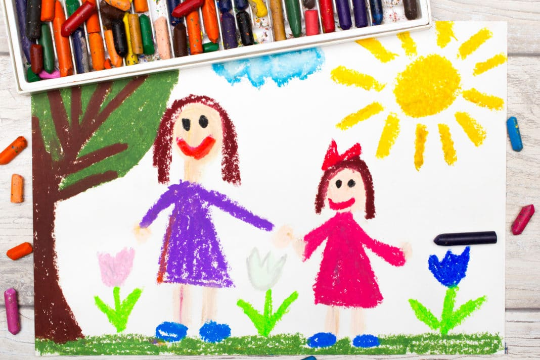 Single Parent Picture Crayons Mom Daughter