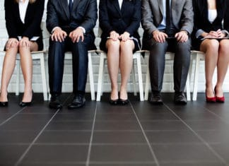 Stressed Men Women Interviewing Business Clothes Waiting