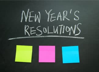 New Years Resolutions Post Its Chalkboard
