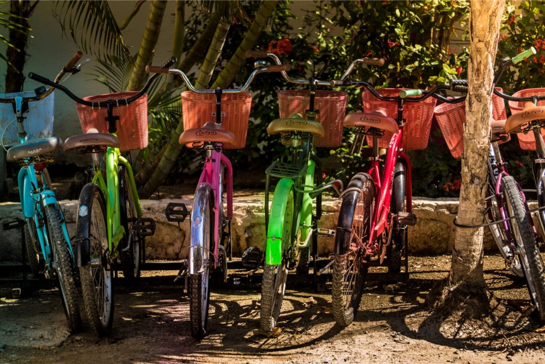 Akumal Riviera Maya Bicycles Mexicao Lined Up Parked