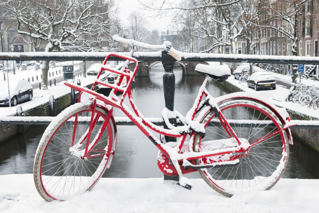 Amsterdam Winter Bike Netherlands Red Snow
