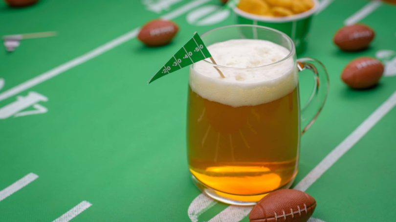 Beer On Snack Table Football Theme Decoration
