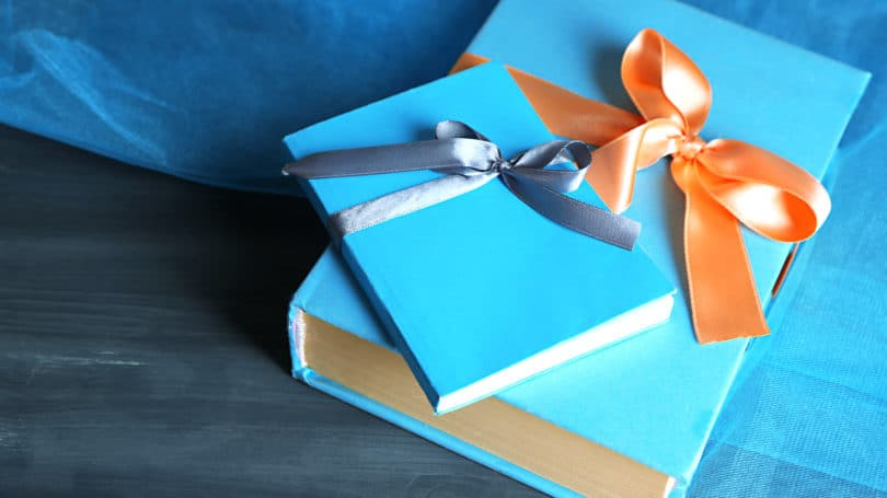 Books Tied With Bow Gift Blue
