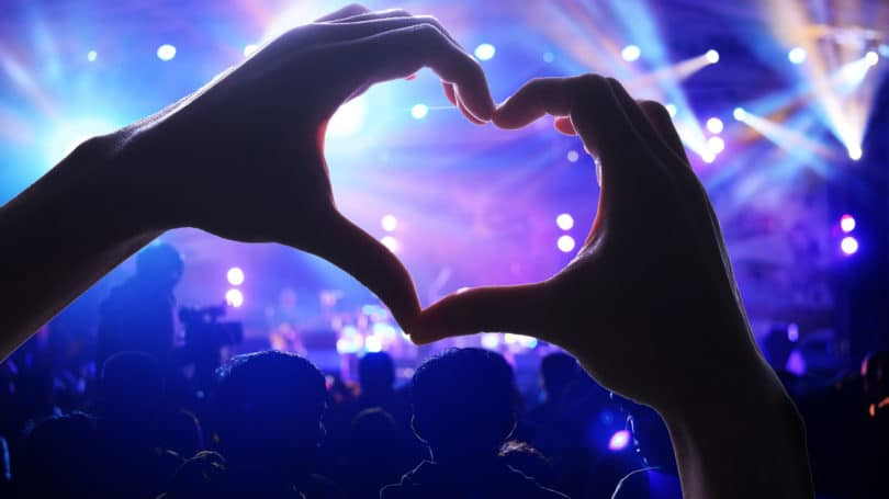 Concert Heart Sign Using Hands Music Lights
