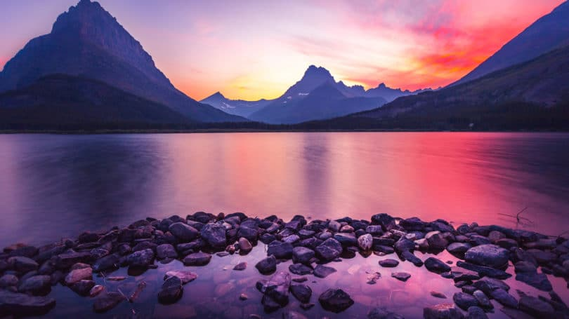 Glacier National Park Sunset Water Mountains