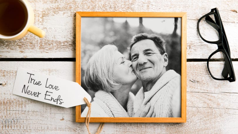 Older Couple In Love Kissing Framed Photo Gift True Love Never Ends