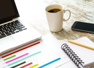 Planning Analyzing Graphs Notebook Coffee Laptop