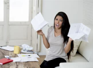 Stressed Woman Doing Taxes
