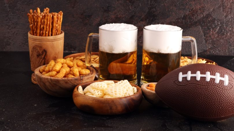 Superbowl Party Football Beer Chips