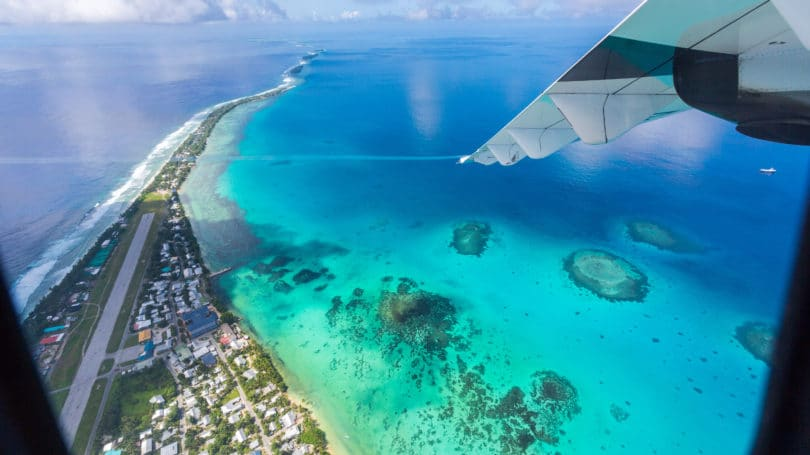 Tuvalu South Pacific Polynesia Ocean Aerial View Plane
