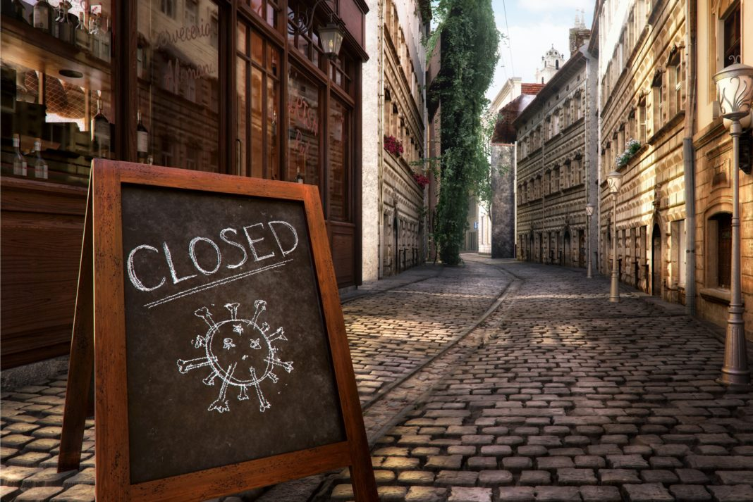 Closed Due To Corona Virus Cobblestone Streets Vacant