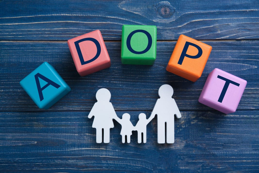 Adopt Family Letters In Colorful Cubes Silhouette