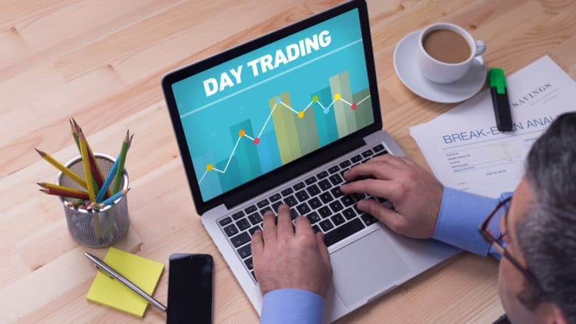 Day Trading Laptop Office Desk Business Man Trader