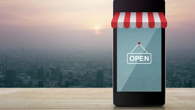 E Commerce Mobile Online Shopping Open For Business