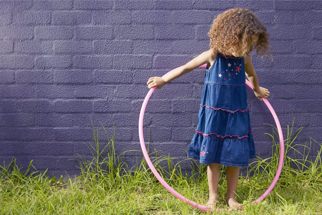 Little Girl Playing Hula Hoop Outside Backyard No Shoes