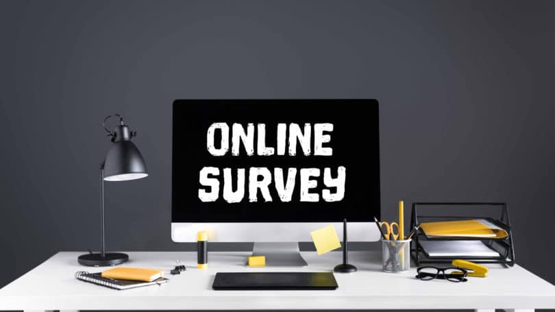 Online Survey Desk Computer Grey Yellow Scheme
