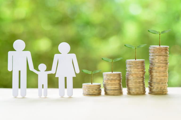 Silhouette Of Family Saving Money Growing Account Coins Stacked