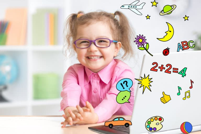 Toddler Girl Learning On Laptop Math Science Arts Music
