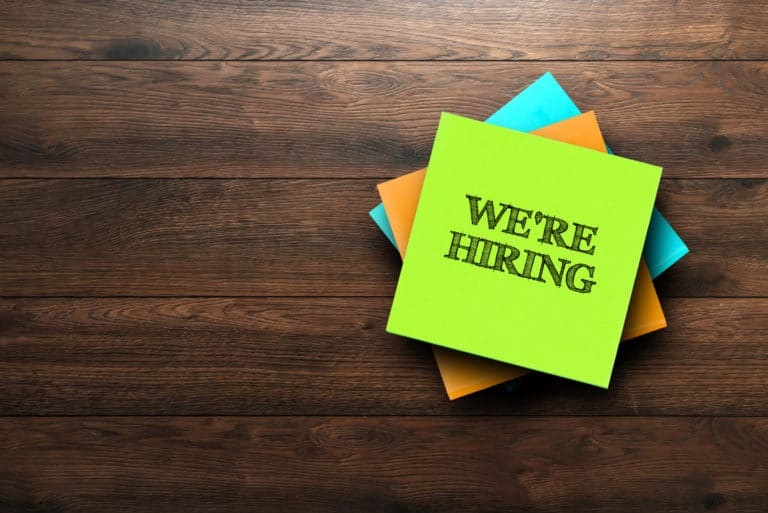 We Are Hiring Post It Notes Table