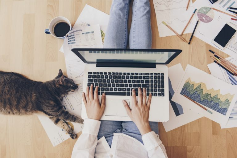 Woman Working From Home Cat Coffee Laptop Charts Floor
