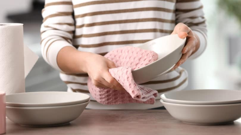 Cloth Dish Towel Drying Dishes