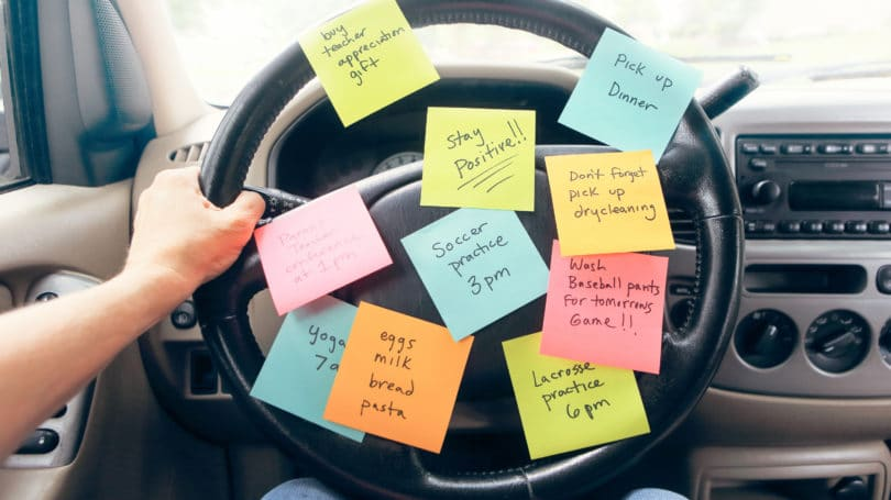 Errands Listed On Post Its And Steering Wheel Unorganized Busy